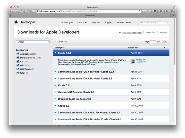 Developer Center Xcode6.3